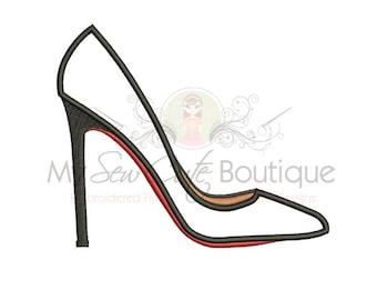 Stiletto Shoe Applique - 8 Sizes - Instant Download