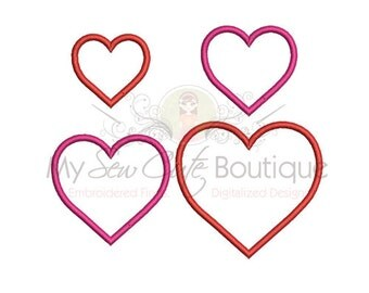 Machine Applique Heart - 14 Sizes - Instant Download