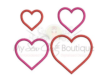 Heart Applique Designs - Love Shape Valentines Day 14 Sizes - Instant Download