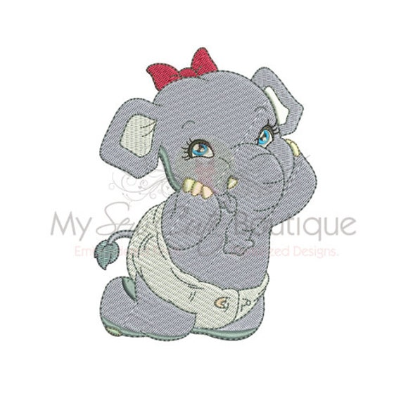 Elephant Machine Embroidery Designs 3 Sizes Instant