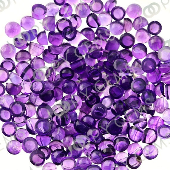 Amethyst (African) Cabochon 3mm Round - 1 cab, CAMEAFR3