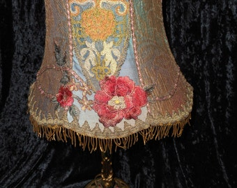 x Lamp Shade of Antique Textiles Designer One-of-a-Kind Lamp Victorian Style Gold Metallic Fringe (FF073015-02)