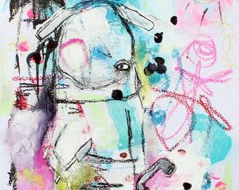 Fantasy Painting Original Art Print. abstract figures, Lowbrow Art, pretty abstract colorful art print, childlike scribble art, art brut
