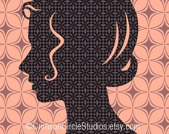 DIGITAL ILLUSTRATION - Ms Lillian 5x7 inch, retro inspired silhouette portrait, peach, brown