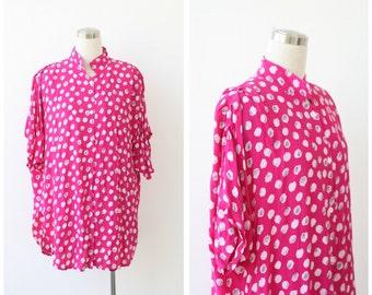 1980s vintage oversized blouse, fuchsia pink print button front tunic top XXL