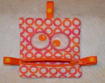 Handmade Zippered Monster Coin Purse -  gift card holder