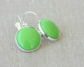 Apple green earrings cabochon earrings boho dangle earrings for women christmas gift idea for her fall autumn fashion accessories jewelry