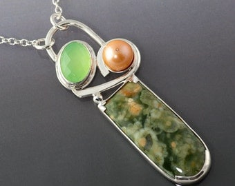 Rain Forest Jasper Chrysophrase and Peach Pearl One of a Kind Sterling Silver Pendant Necklace, Hand Made Artisan necklace, Ready to Ship