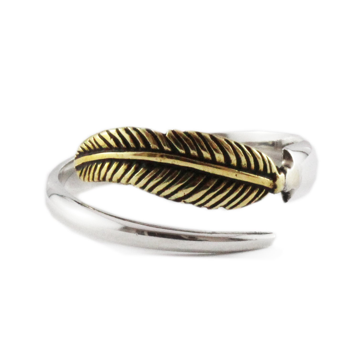 silver feather ring sterling brass rings for jewelry