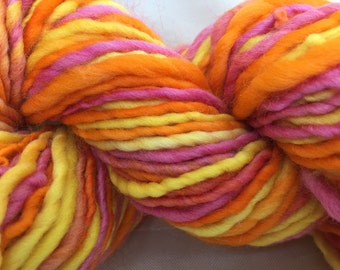 Handspun Art Yarn hand spun hand dyed Bulky Knitting Crochet supplies Photo Prop Waldorf Hair