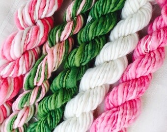 Mini Skeins  hand spun knitting handspun hand dyed crochet supplies wool yarn  Waldorf Doll hair merino baby photo prop
