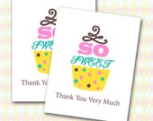 Cupcake Thank You Note Cards, Set of Ten, Child Birthday, Shower, Bridal Tea, Chocolate Strawberry Pistachio, Cupcake Party Child Adult