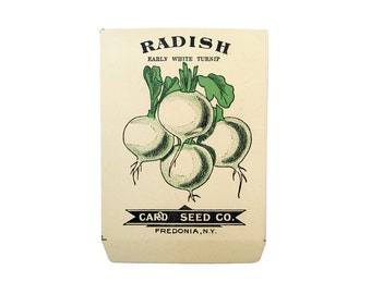 antique 1900s litho card seed co. early white turnip radish packet
