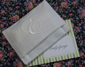 Monogrammed Essex Linen Purse or Pocket Tissue Cover