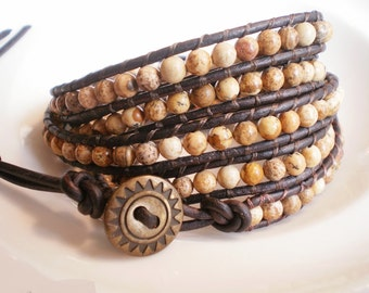 Jasper Wrap Bracelet Gemstone Jewelry Desert landscape 5X wrap cuff