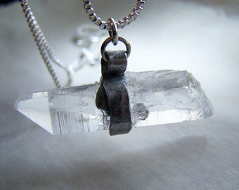 Natural Crystal Quartz Point Hammered Silver Wire Wrapped Pendant