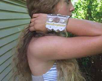 Eco Cuff BRACELET, fiber cuff bracelet , beaded bracelet, natural  bracelet, mixed media bracelet, upcycled cuff, folk cuff bracelet, Zasra
