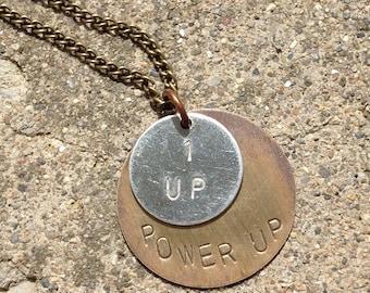Power Up 1 Up fandom gamer necklace