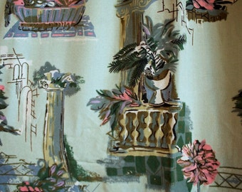 Vintage 1940s Curtain // 40s Pale Mint Green Barkcloth Curtain Panel // Italian Garden Villa
