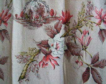 40s Vintage Barkcloth Curtain Panel// 1940s Pink & Mint Floral Countryside Print