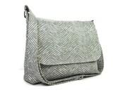 Gray Herringbone Messenger Purse for Women, Fabric Pocketbook, Cotton Crossbody Bag, Gray Cross Body Purse, Gray Chevron Handbag