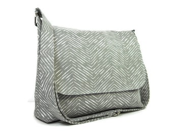 Gray Herringbone Messenger Purse for Women, Fabric Pocketbook, Cotton Crossbody Bag, Gray Cross Body Purse, Gray Chevron Handbag