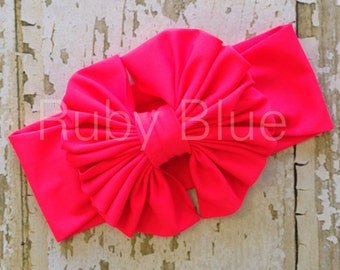 Neon Red Messy Bow Head Wrap - Pool Safe