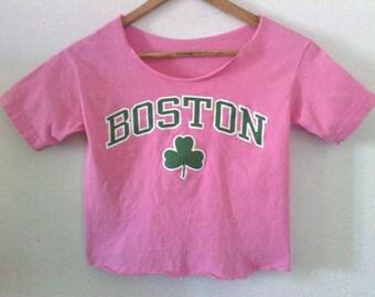 Boston TShirt / Crop Top / Half Tee / Clover / Boho / Pink / Indie / Grunge / Rock N Roll / Rocker / Cute Top / Graphic Tee