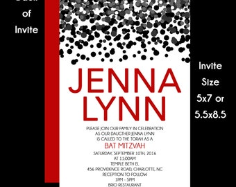 Black and Red Confetti Bat Mitzvah Invitations USE for ANY EVENT