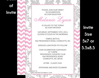 Bat Mitzvah Invitation Pink and Grey Damask Use for Any Event Birthday Party Wedding Shower Sweet 16 Sixteen
