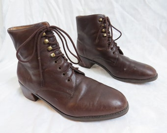 FLAMENGO Brown Leather Heeled Lace Up Oxfords