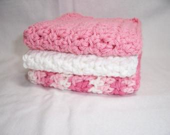 "Set of 3 Handmade Crocheted Dish Cloths,Wash Cloths, Dish Rags,Bath Cloths 7"" x 7"" - 100% Cotton- Ready To Ship"