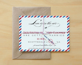 Vintage Air Mail Save the Date Digital download, Air Mail Wedding Printables,Airplane Digital files,Destination Save The Date DIY template