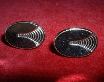 Vintage 1950 Cufflinks Silver Oval Classics