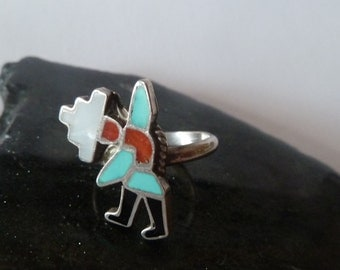 Inlay Rainbow Dancer Ring, Southwestern Ring, Turquoise Jewelry