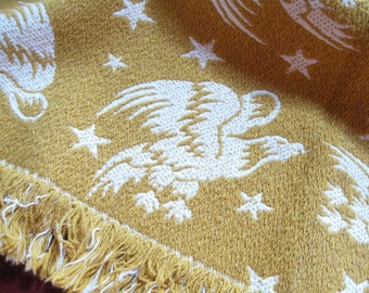 Patriotic Vintage Tablecloth Placemats Reversible Woven Mustard Brown White