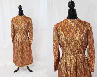 SALE ITEM Vintage 50s Gold Lace Long Sleeve Dress