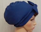 Blue Head Scarf , Jewish Hair Cover, Cotton Head Wrap, Tichel, Retro Headscarf, Jewish Head Covering, Summer Hair Scarves