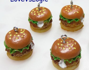 4 Chunky Junk Food Hamburger Lucite Charms
