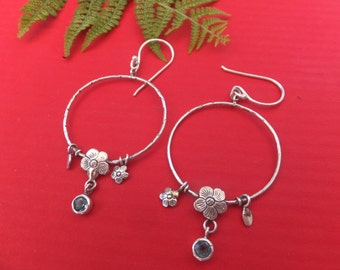 Sterling silver hoops with adorable flowers and Blue topaz