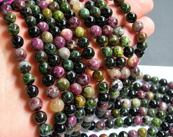 Tourmaline - 8mm round beads - full strand - 49 beads - Ab quality - multi color tourmaline - RFG602