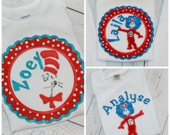 Boys or Girls Thing or Cat in the Hat Birthday Shirt or Hat Dots Red & Aqua Inspired Top or Bodysuit FREE Personalization