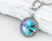 Iridescent Crystal Necklace in Aqua Blue Lavender Purple Sage Antique Silver Crystal Pendant with Swarovski Simple Elegant Colorful Jewelry