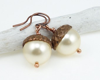 Acorn Earrings Dangle Light Gold Pearl Earrings Antique Copper Acorn Jewelry Harvest Thanksgiving Fall Autumn Back to School Teachers Gift
