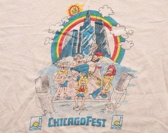 Rare ChicagoFest T-Shirt, Caricature Cartoon Band, Vintage 70s-80s