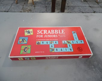 Scrabble for Juniors vintage 1964 board game a crossword game for children by Selchow and Righter complete game ready for family game night
