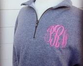 1/4 Zip Monogrammed Sweatshirt with Monogramming Included - NAVY sweatshirt, grey sweatshirt, black sweatshirt