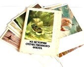The history of Russian and Soviet Navy. Set of colored cards. 16 pcs.