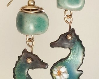 SALE! Seahorse Earrings - Enamel and Raku - Teal cubes