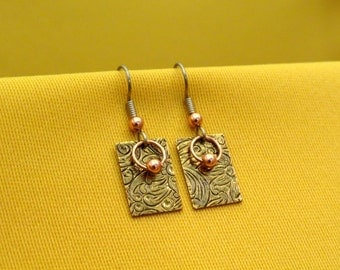 Ring around the rectangle antique gold and copper earrings (Style #370C)